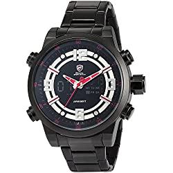 Shark Herren LCD Digital Armbanduhr XXL Schwarz Edelstahl Uhrband SH340