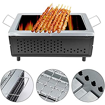 Jacksking Barbecue Grill, Klappbare tragbare japanische Keramik Hibachi BBQ Picknick Tisch Grill Yakitori Barbecue Holzkohle Camping Grill 40CM