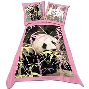 Parure linge de lit Housse de couette + Taie d oreiller Enfant Fille Panda Animaux pour un lit 1 Personne