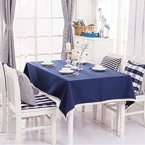 Tablecloth lattice Cotton Cloth Fabric Blue Rectangular Home Picnic Dustproof Anti-Fouling Soft Premium Table , 130x180cm