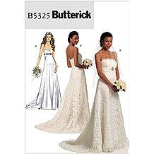 Butterick B5325 - Patrón de costura para confeccionar vestido de novia (2 diseños, tallas