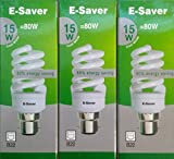Pack of 3, E-Saver CFL Full Spiral, 15w = 80 watt, Cool White 4200k, Compact Fluorescent Lamp, Bayonet Cap (BC, B22, B22d) 800 Lumen, T2, 80%-85% Energy Saving Light Bulb, Flicker Free, 10,000 Hours Life Time