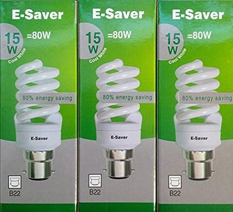 Pack of 3, E-Saver CFL Full Spiral, 15w = 80 watt, Cool White 4200k, Compact Fluorescent Lamp, Bayonet Cap (BC, B22, B22d) 800 Lumen, T2, 80%-85% Energy Saving Light Bulb, Flicker Free, 10,000 Hours Life