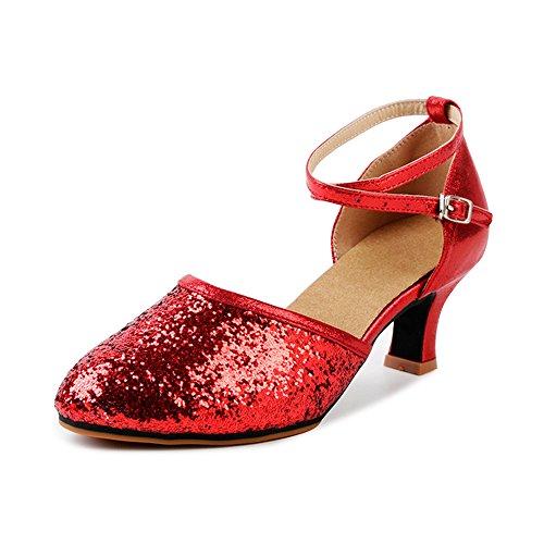 Damen Tanzschuhe Pumps Latin Schuhe Gesellschaftstanz Schuhe hochhackig Pailletten Sexy Gummi Rot Asiatisch 35/EU 35,5