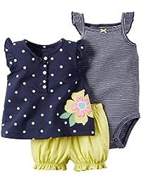 ARAUS Falda Bebé Niña Recién Nacido Verano Cabestro Rayas Mono Algodón Floral Jumpsuit