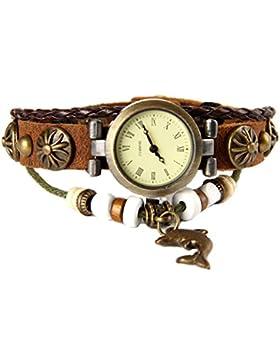GSPStyle Damen Leder Quarz Uhr Damenuhr Delphin-Anhänger Armbanduhr Quarzuhr Farbe Braun