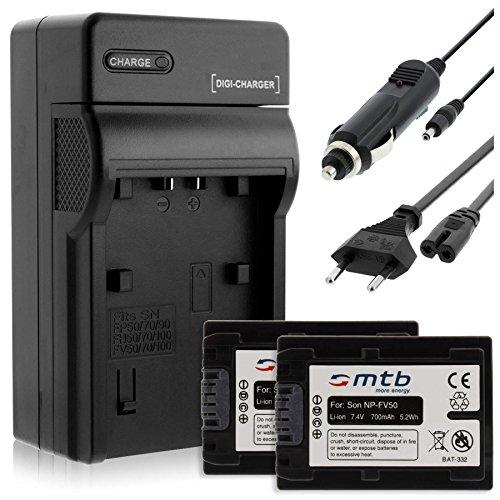 2 Batterie + Caricabatteria (Auto/Corrente) per Sony NP-FV50 / DEV-, DCR-, HDR-, NEX-...vedi lista!