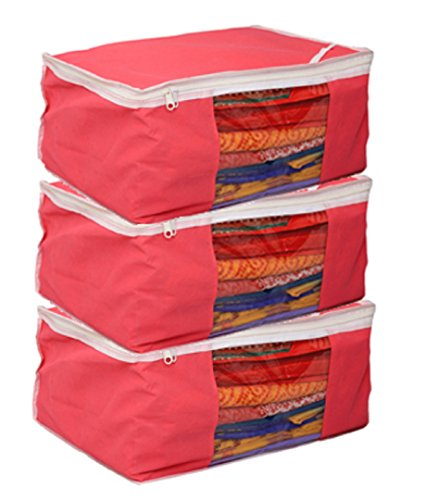 Kuber Industries Non Woven Saree Cover Bag Set Of 3 Pcs /Wardrobe Organiser/Regular Clothes Bag Pink-19177