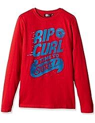 Rip Curl Time To Surf LS Tee - Camiseta de manga larga para niños, color rojo
