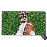 Soccer Dog tenant un tapis de souris de jeu de rugby, grand tapis de souris étendu, tapis de souris cousu, bords de souris antidérapants, tapis de souris de base antidérapants 29,5 x 15,7 po