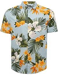 M&Co Mens 100% Cotton Short Sleeve Hawaiian Large Floral Print Button Down Summer Holiday Shirt