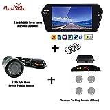 MotoPanda Combo of 7 Inch Full HD Bluetooth LED Screen + 8LED Reverse Camera for Cars + Reverse Parking Sensor (Silver)