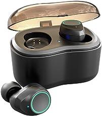 Antimi Bluetooth Kopfhörer, Bluetooth 5.0 Bluetooth Headphones Drahtlos Headphones Stereo-Minikopfhörer Kopfhörer in Ear mit Tragbar Ladebox und Integriertem Mikrofon für Android und iPhone(Schwarz)