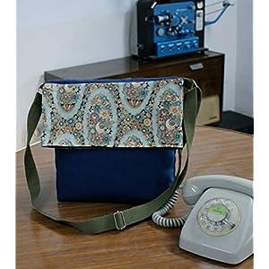 ¡¡Verkauf!! – Schulter-Tasche – Blumen blau, handgefertigt in Leinwand und Baumwolle