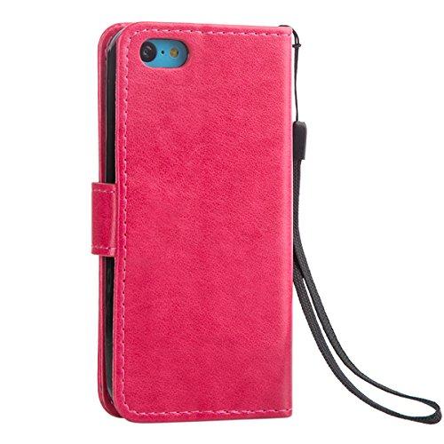 Etsue für iPhone 5C Leder Schutzhülle Ledertasche Flip Case Cover Hülle Handytasche Magnetverschluss Book Stil Handy Hülle Wallet Tasche Schutz Schale mit Standfunktion und Karte Halter für iPhone 5C  Lanyard,Butterfly,Hot Pink