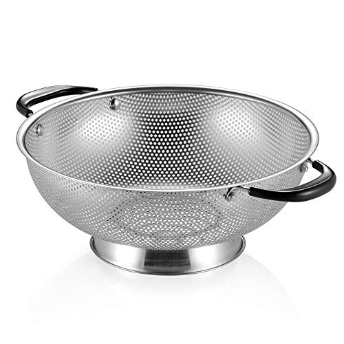 Tiawudi Stainless Steel Colander, Easy Grip Micro-Perforated 5-Quart Colander, Strainer with Riveted and Heat Resistant Handles, Great for Pasta, Noodles, Vegetables and Fruits 5 Quart Colander