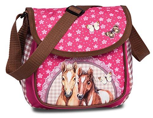 Mädchen Kinder Handtasche Schultertasche mit tollem Pferde Pfohlen Motiv (20551), pink, 20 x 20 x 14 cm
