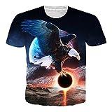 Leapparel Unisex 3D Adler Animal Print Kurzarm Lustige T-Shirt Top für Männer und Frauen Damen L