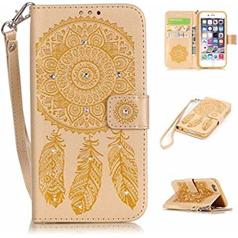 IPhone 6 Plus/6S-Custodia in pelle PU, per iPhone 6 Plus/6S a portafoglio, M .JVisun diamanti acchiappasogni in Silicone, morbida, in pelle, con tasca per carte di credito, Strap con supporto per Apple iPhone 6 Plus/6S, oro, For iPhone 6 /iPhone 6S (4.7)
