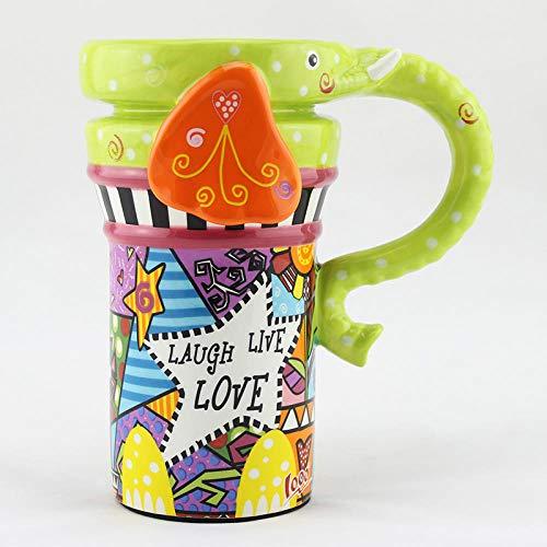 anten Tasse niedlichen Tier Becher mit Deckel mit Löffel Keramik Kaffeetasse kreative Paar Tasse 401ml-500ml ()