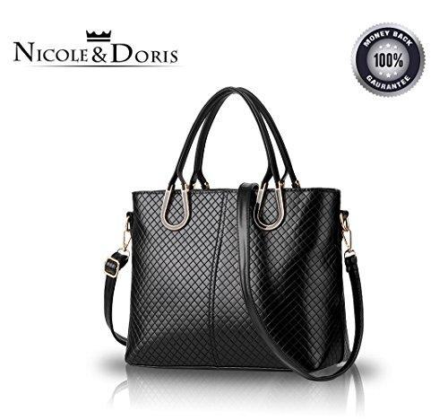 5ebb15088e NICOLE&DORIS Borsa a tracolla intrecciata nuovo casuale stereotipi Borsa  delle donne Messenger Bag(Black)