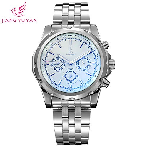 Fashion Business Machinery Men es Watch Three Discs Multi-Function Dial Watch Stainless Steel Men ' s Mechanical Watch -