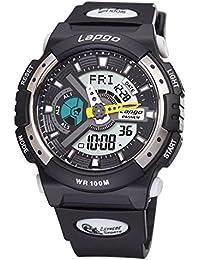 Exhibición doble / reloj electrónico de múltiples funciones / reloj militar luminoso / reloj de los deportes / tabla de salto impermeable / relojes de los hombres , silver black n6