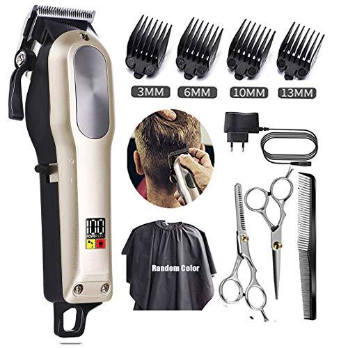 Monlida Tondeuse cheveux hommes professionnel, Tondeuse barbe, Batterie Rechargeable Li-ion, Affichage LED, Lame en acier inoxydable, Moteur puissant, Longueur de serrure avec 0.8mm-2.0mm, 4 peignes