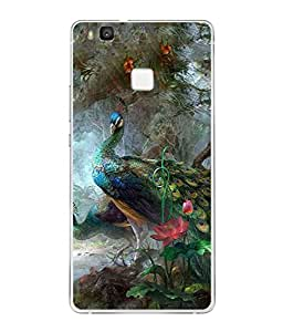 PrintVisa Designer Back Case Cover for Huawei P9 Lite (beautiful peacock enjoy the nature)