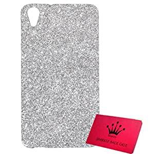 Majesty Sparkle Silicon Back Case Cover for HTC Desire 826 - Silver Back, Transparent Edges