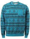 D-Code Herren Asymmetrischer Sweatshirt, Aztekisch Large Gr. S, Mid Turq Marl