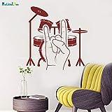 Modeganqingg Vero Tamburo in Vinile Pesante Tamburo Musicale Appeso a Parete Tamburo Musicale Garanzia di qualità Decalcomania Rimovibile Decorazione Artista murale Rosso Scuro 84x87 cm