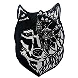 Parche termoadhesivo para la ropa, diseño de Lobo tribal del girasol