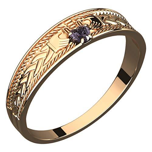 GWG® 18K vergoldetes Sterlingsilber Claddagh Ring mit herzförmigem Amethyst Lila CZ Stein, Hände und Krone für Frauen – 5