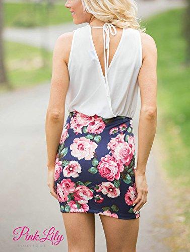 Druckkleiderdamen Sommer Elegante Ärmellos V-Ausschnitt Schlank Bleistiftkleid Partykleider Freizeitkleider Weiß