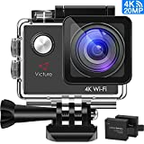 Victure Action Cam 4K WIFI Ultra HD 20MP Sport Camera Impermeabile Videocamera con Timelapse, Slow Motion 170° Grandangolare 2.0 Pollici due 1050mAh Batterie e Kit Accessori (grigio)