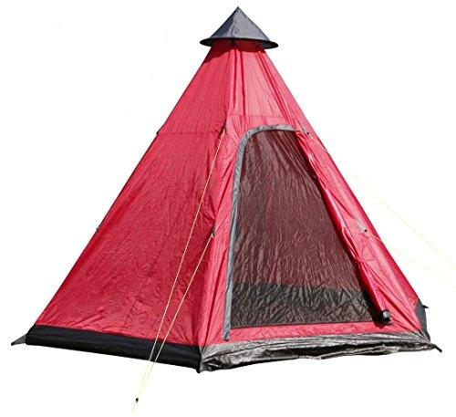 Camping Zelt für 4 Personen - Pyramidenzelt in rot / 350 x 300 cm - Familienzelt Tipi Rundzelt