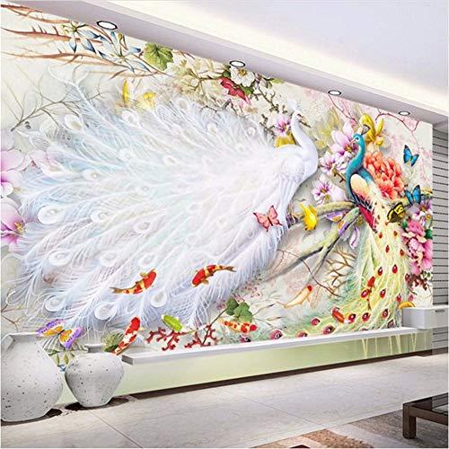 Qwerlp Chinesischen Stil Aquarell Pfingstrose 3D Wandbilder Tapete Wohnzimmer Schlafzimmer Hintergrund Wand Wohnkultur Tapete 3 D-310Cmx230Cm