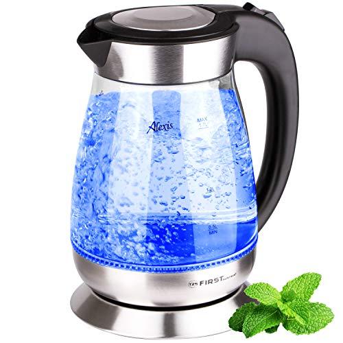 TZS First Austria - 1,7L Edelstahl Glaswasserkocher, BPA freier Wasserkocher mit geschmacksneutralen Glas und blauer LED Innen-Beleuchtung, herausnehmbarer Kalk-filter, schwarz, 2200 Watt