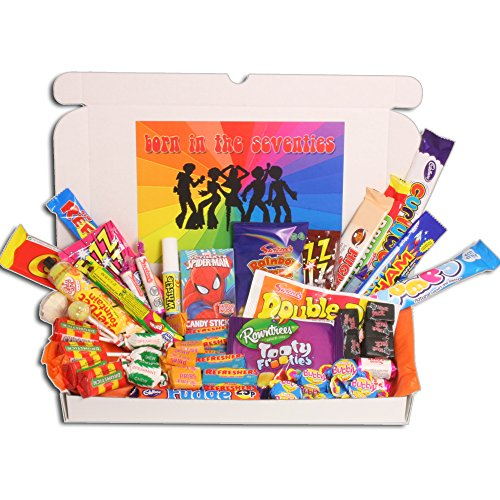 Born in The Seventies Retro Sweets Gift Selection Box. Who wouldn't be delighted to receive a box full of retro sweets through their letterbox?