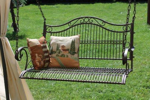 DanDiBo Hängebank Metall Garten 82505 Schaukel mit Ketten Gartenschaukel Bank Hollywoodschaukel