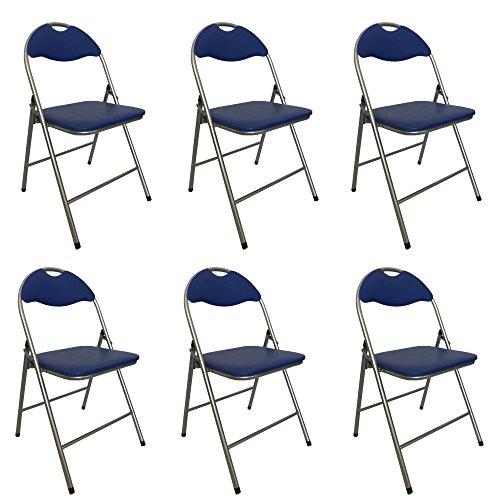 Totò piccinni sedie pieghevoli comode di alta qualità in metallo, imbottite in ecopelle resistenti salvaspazio (blu, 6)
