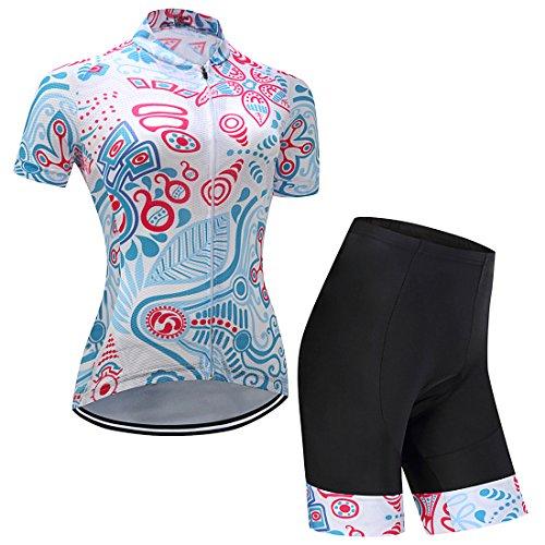 GWELL Damen Blumen Radtrikot Fahrradbekleidung Set Trikot Kurzarm + Radhose mit Sitzpolster hellblau S