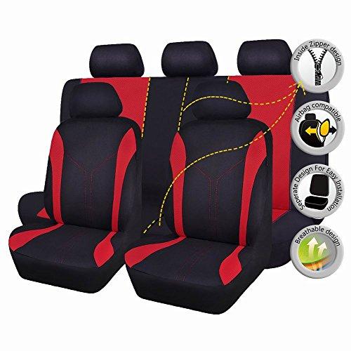 Flying banner 11 pezzi moda maglia universale Fit progettato set coprisedili per auto (Rosso)