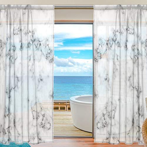 """ALARGE Vorhang mit abstraktem Marmor-Druck, Voile-Vorhang, Dekoration, Küche, Wohnzimmer, Schlafzimmer, Tür, Fenster, 2 Paneele, Multi, 55\"""" W x 78\"""" L"""