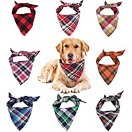 Dog Bandana, VIPITH 8 Pack Plaid Bibs Scarf, Washable Reversible Adjustable Triangle Dog Scarf Bow Ties for Pets and Cats (Random Color)