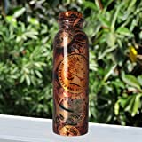 #8: JaipurCrafts Pure Copper Modern Art Printed And outside Lacquer Coated Bottle, Travelling Purpose, Yoga Ayurveda Healing, 1000 ML