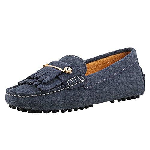 Shenduo Damen Mokassins mit Metallschnallen und Bommel Leder Schuhe Casual Slipper Moderne Schuhe D7066 Grau 38