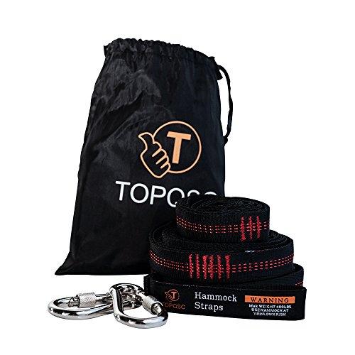 TOPQSC Ultra-resistenti kit Amaca cinghie di sospensione pesante - 100% poliestere cravatta Amaca appesa Hammock - esterna in poliestere specifico - con 2 moschettoni di sicurezza
