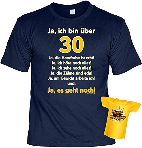 Über 30 Designs (Lustiges T-Shirt zum 30. Geburtstag für das Geburtstagskind über 30 Jahre mit Gratis Mini-Shirt Set 30 Geburtstag Geschenk 30 Jahre)